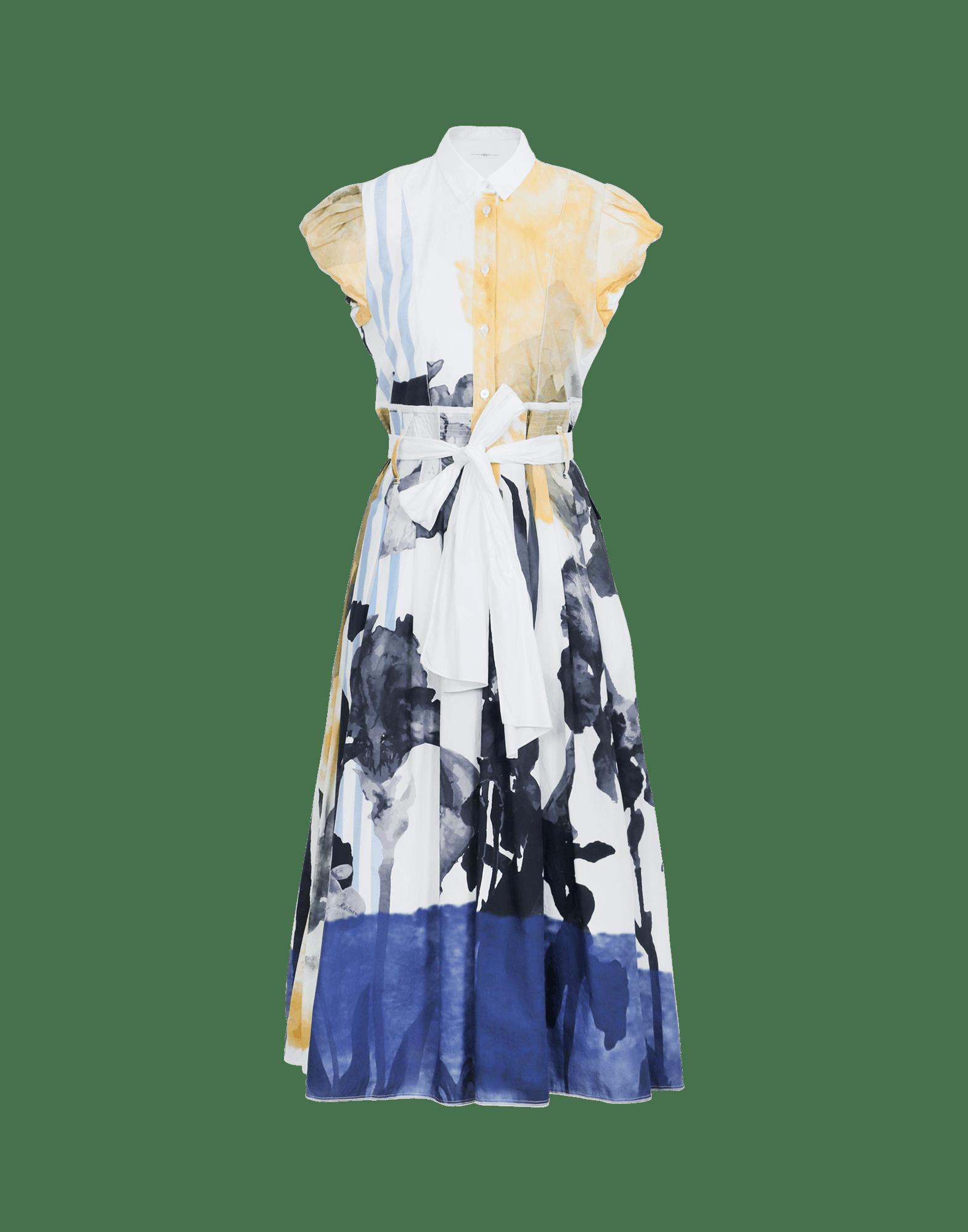 IMAGINATION: Kleid mit kurzen Ärmeln, Blumendruck und weitem Rock
