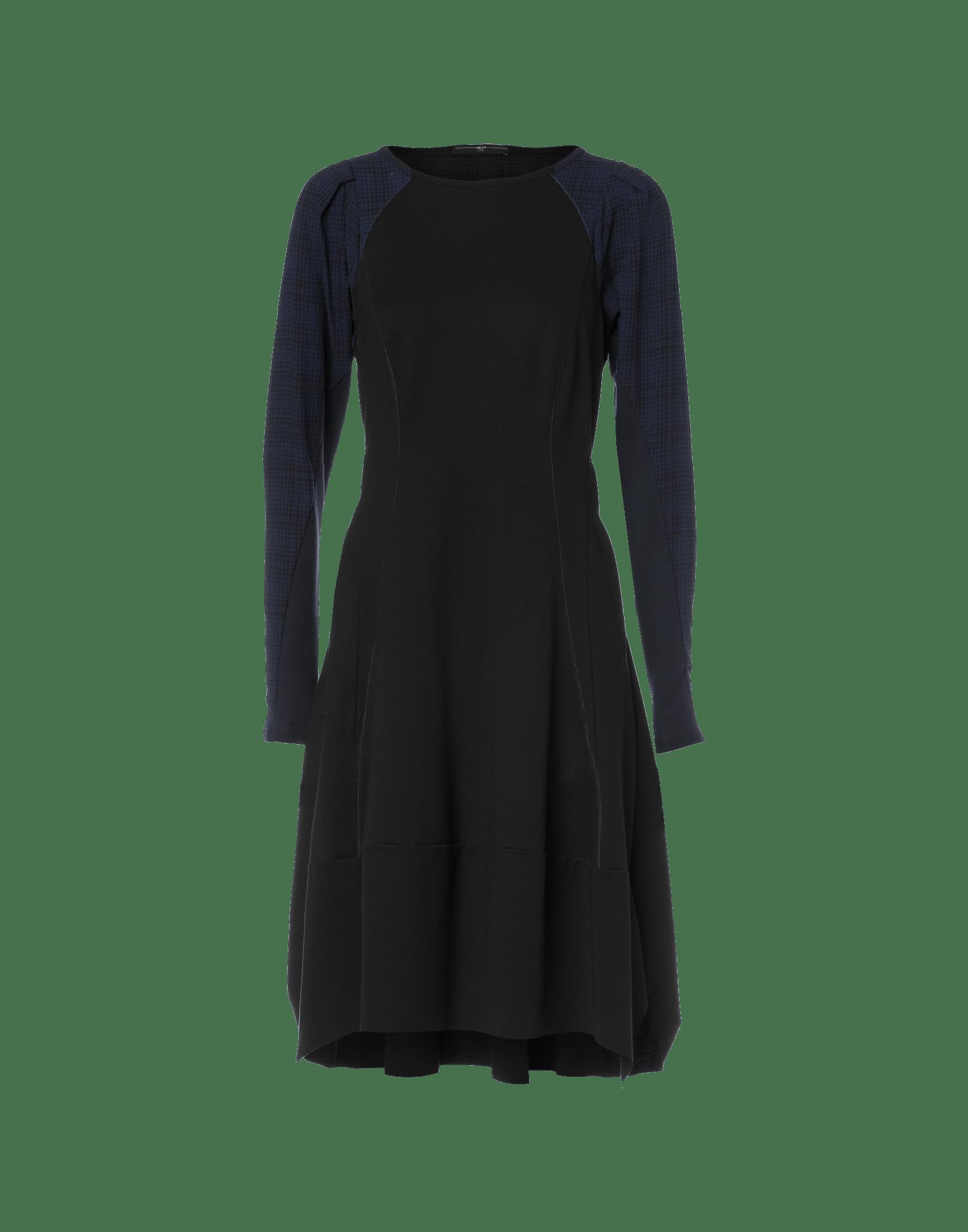 compulsive: schwarzes jerseykleid mit karierten Ärmeln