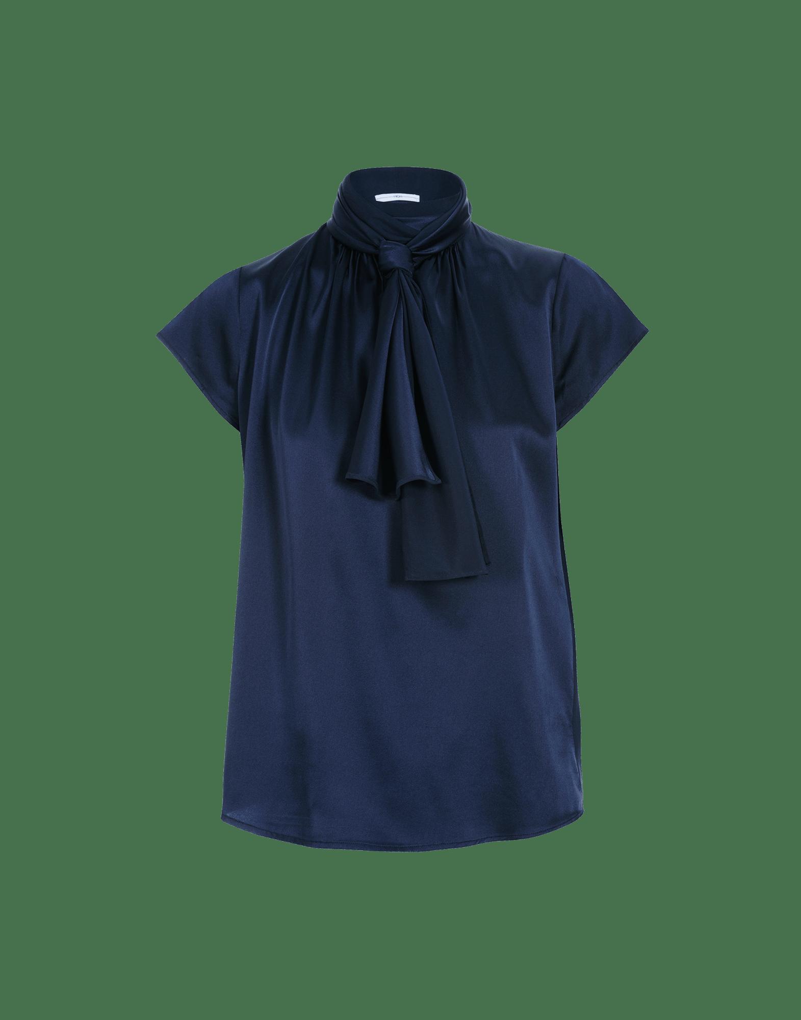 SPARK: Short sleeve top with tie collar in navy satin