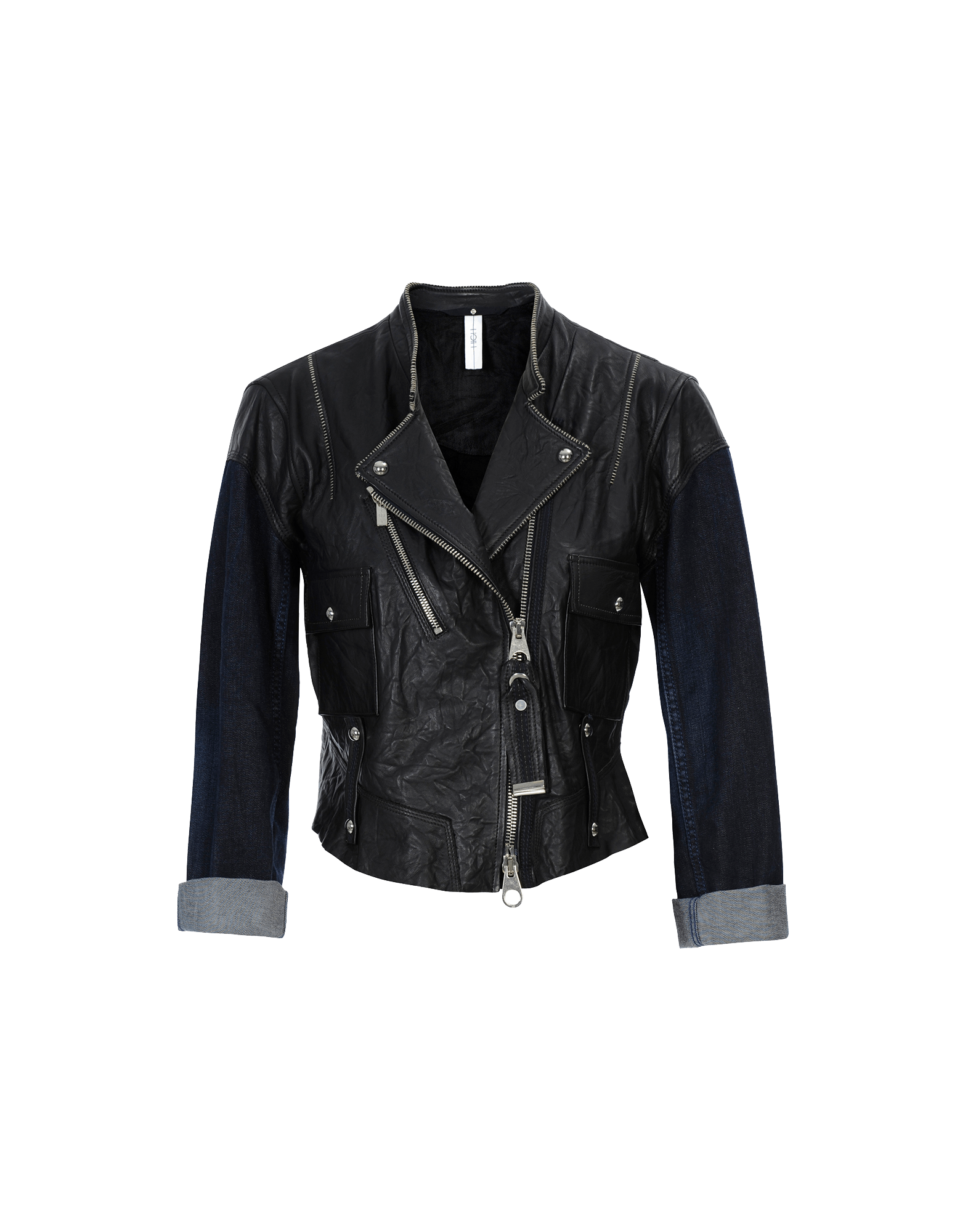 44cdc883 PROFOUND: Leather and denim jacket