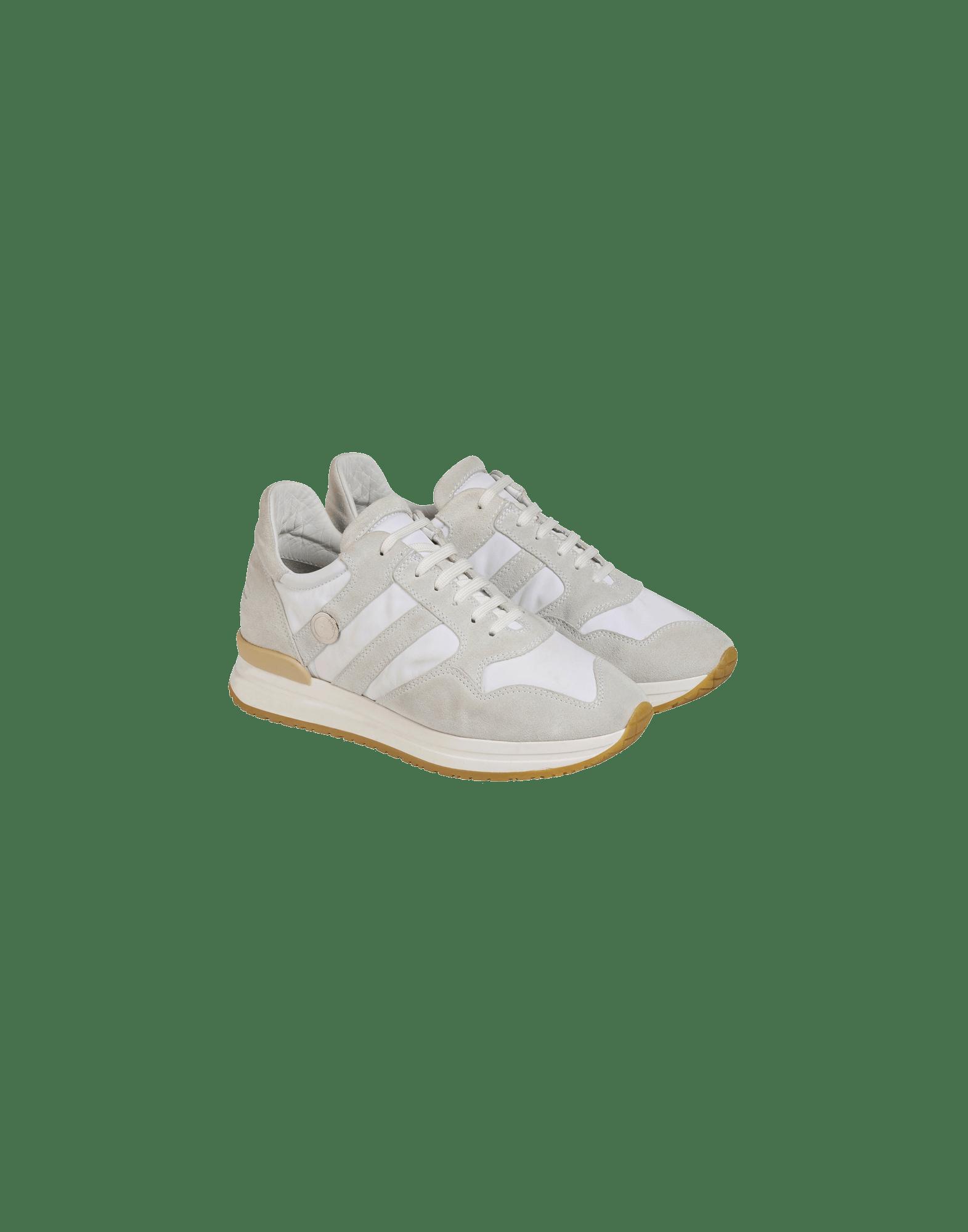 FRANTIC: Cream suede luxe sneakers