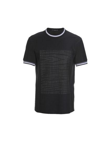 "ROLF: T-shirt nera con stampa ""pneumatico"""