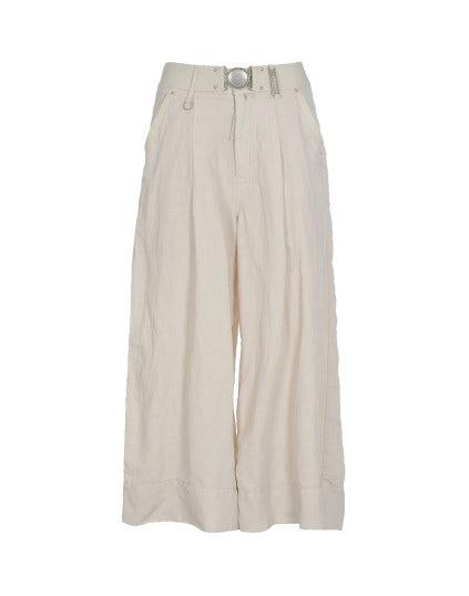 NAVAGAR: Culottes beige in lino e cupro