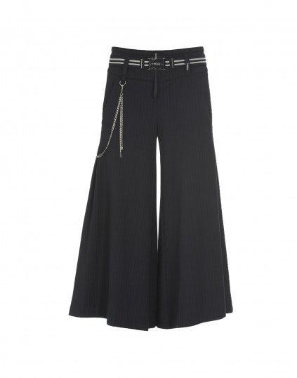 FRIGATE: Pantaloni ampi a campana in jersey gessato