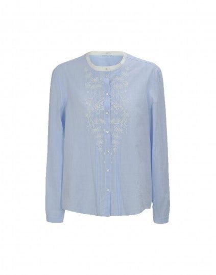 CHAPLET: Camicia con colletto bianco e pieghe frontali