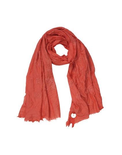 FREYA: Sciarpa ricamata tono su tono rossa