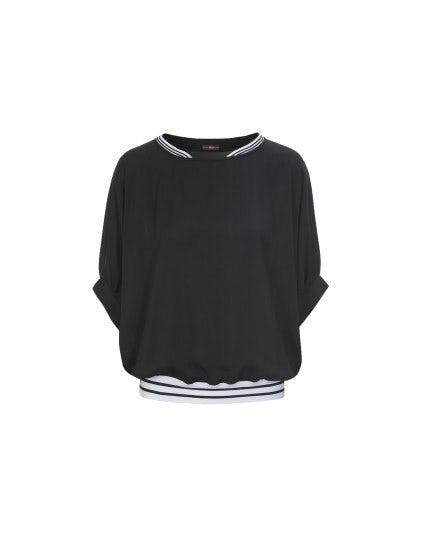 DULCE: Blusa con maniche dolman, nera