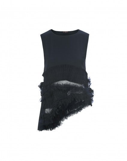 """CYGNET: Top """"couture"""" con ruches, navy"""