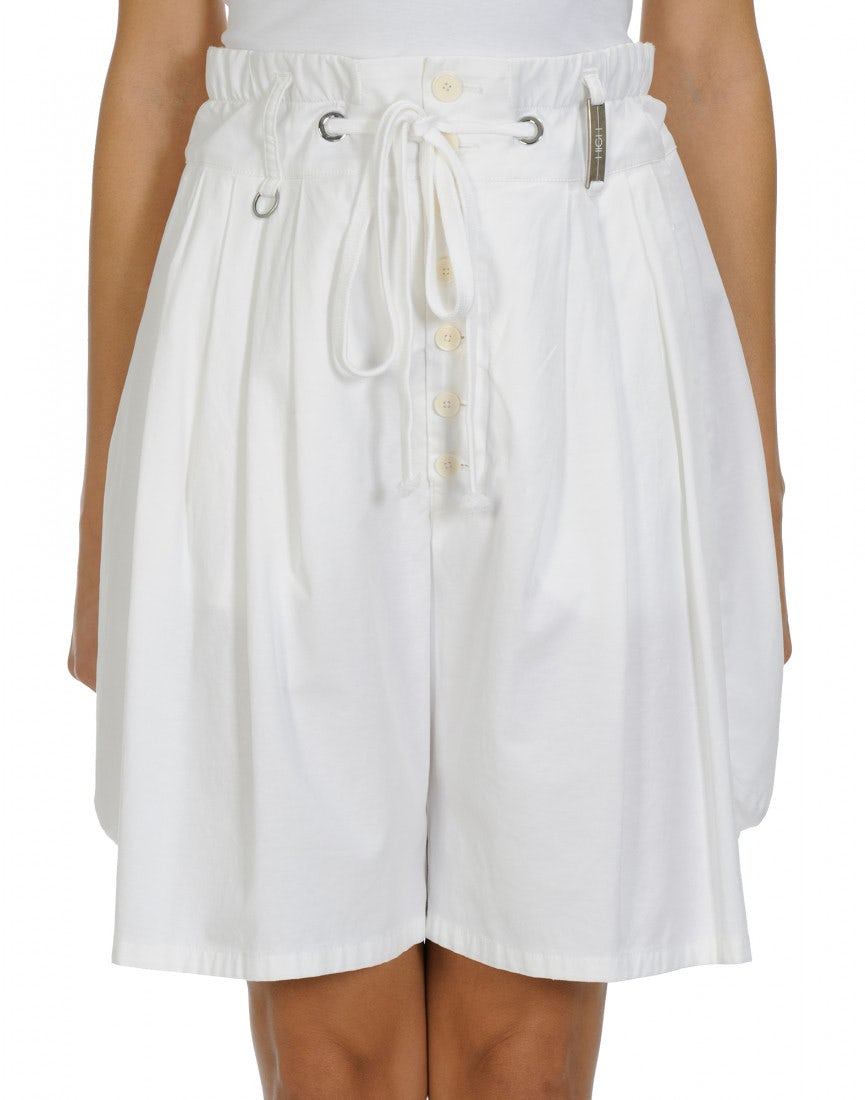 SCANTY  White cotton and linen 4 pleats shorts d67dcf81f
