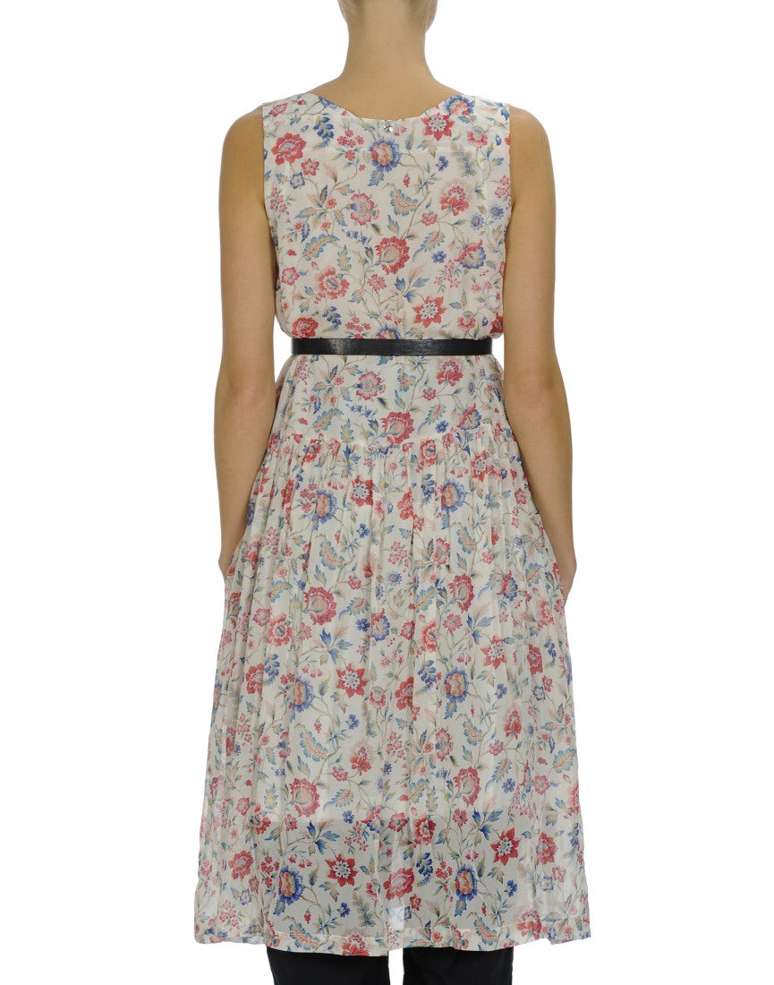 c2ff4a549c268f SERENE  Floral print square neck sleeveless dress