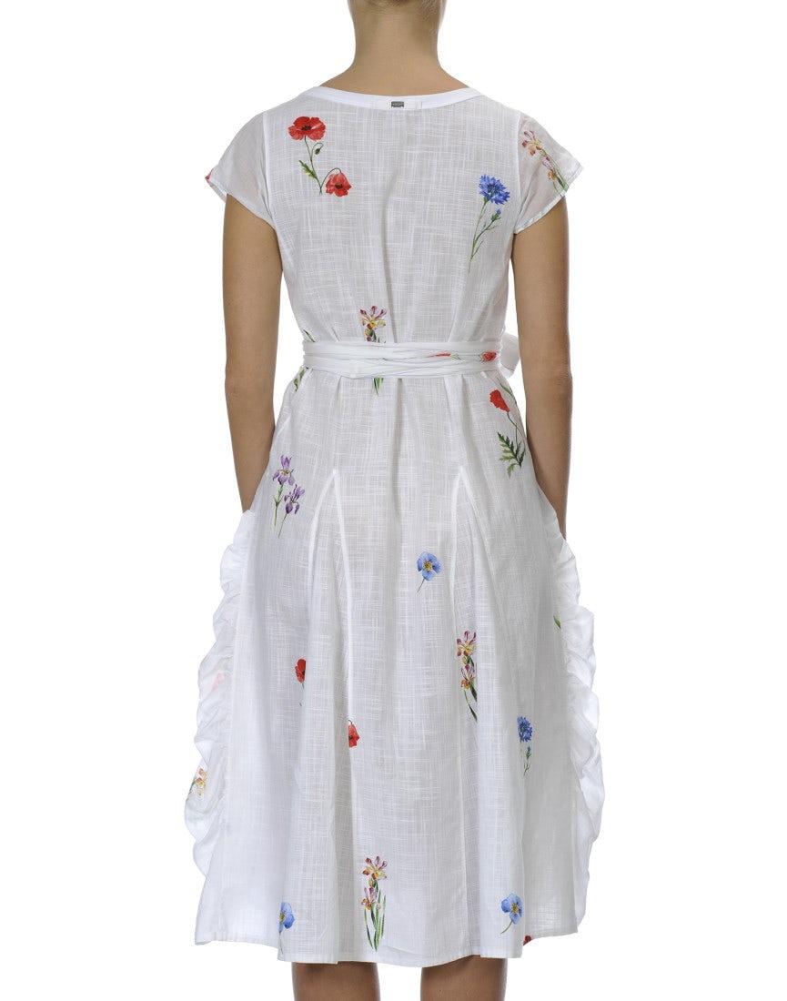 FIESTA: Weißes Kleid mit von Hand aufgemaltem Blumenmuster