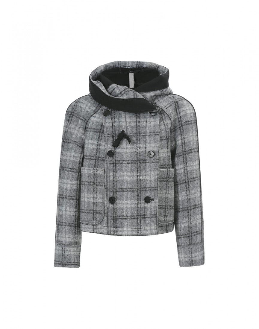 SOLANO: Grey tartan short hooded coat - HIGH