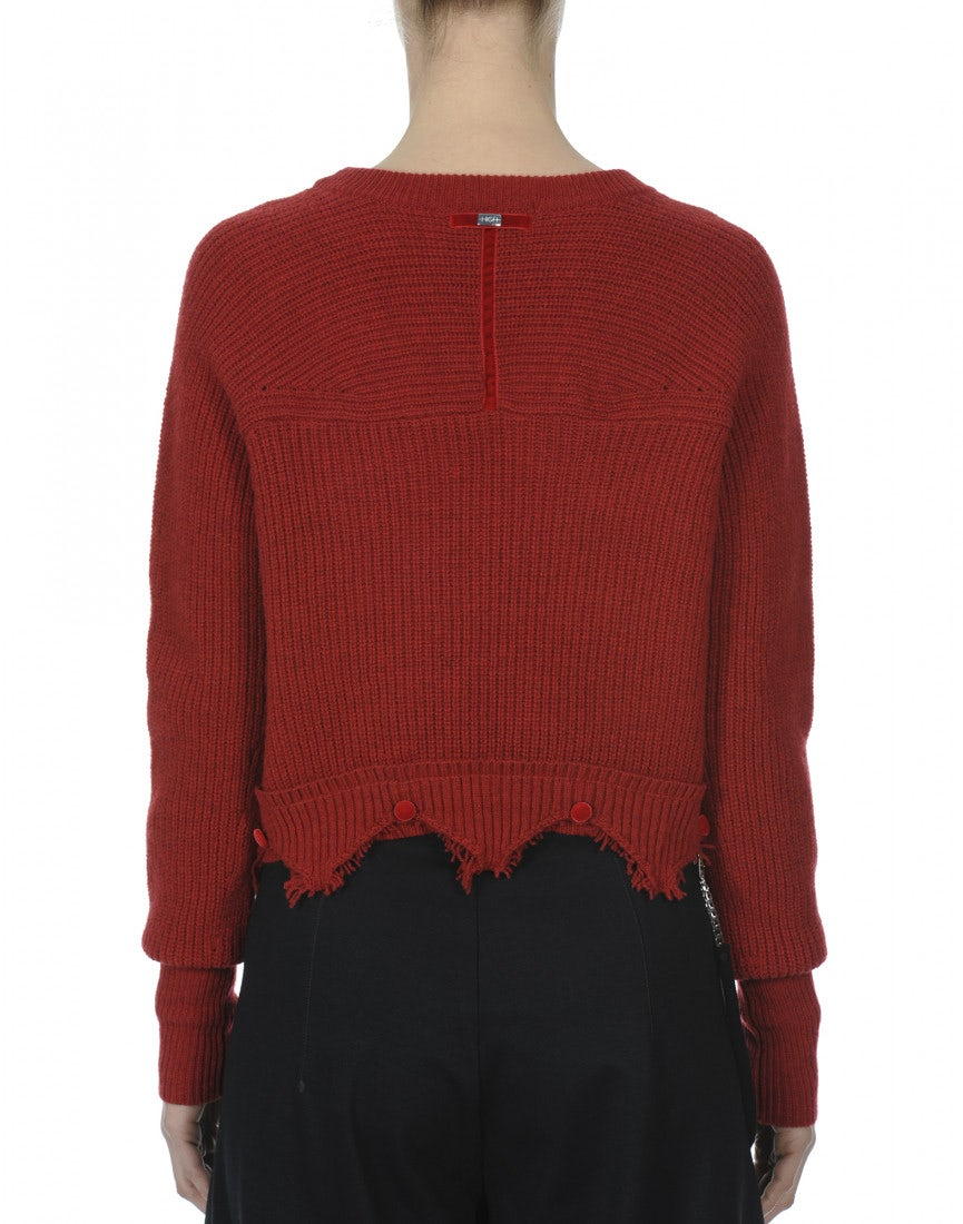 CITRINE: Red cropped sweater with double hem - HIGH