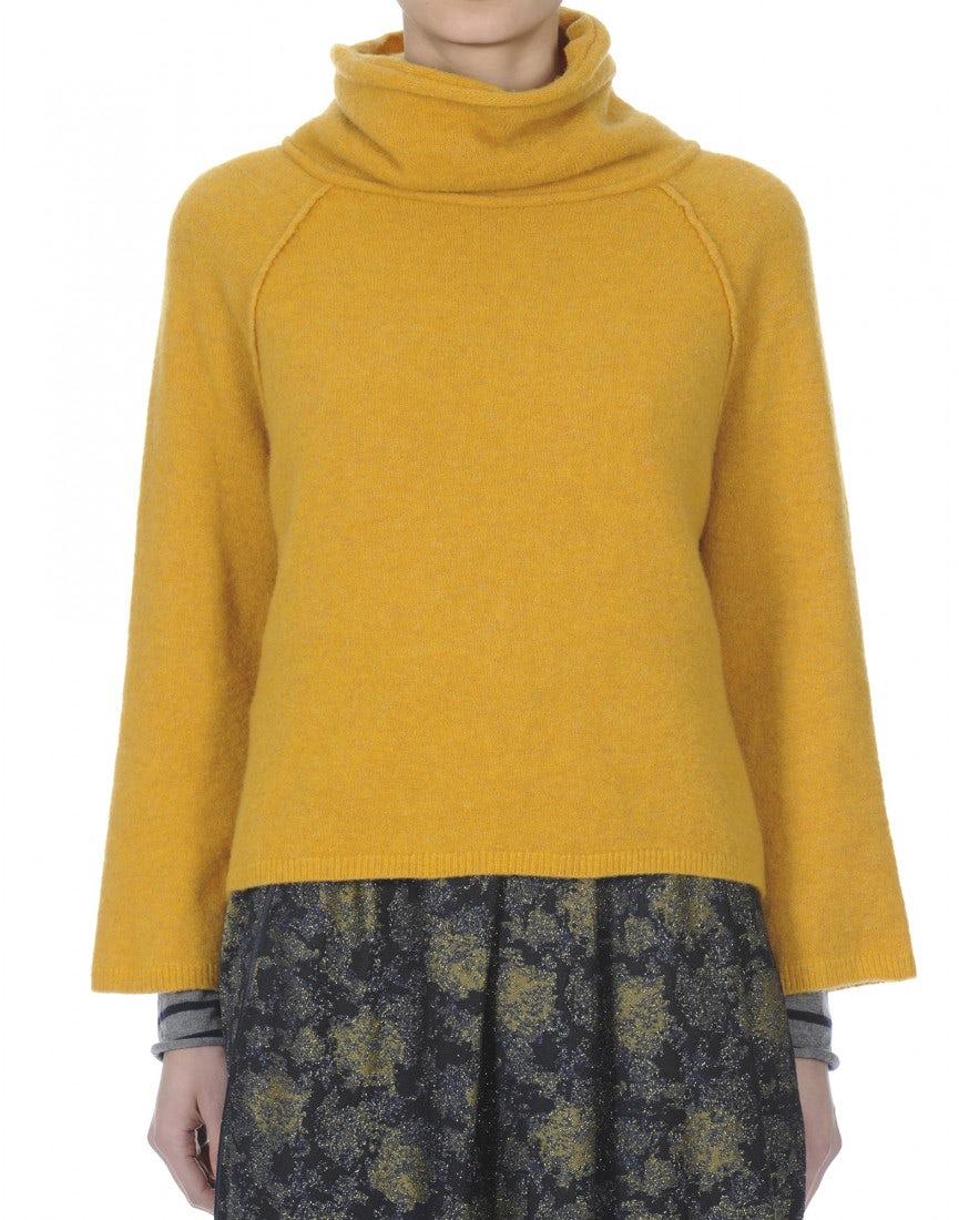 JASPER: Soft , cowl neck sweater in mustard - HIGH