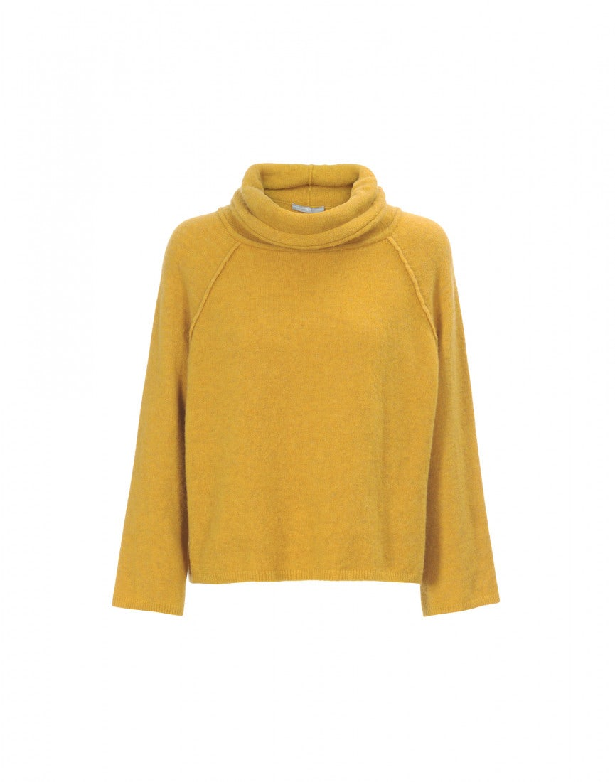 JASPER: Soft , cowl neck sweater in mustard - HIGH