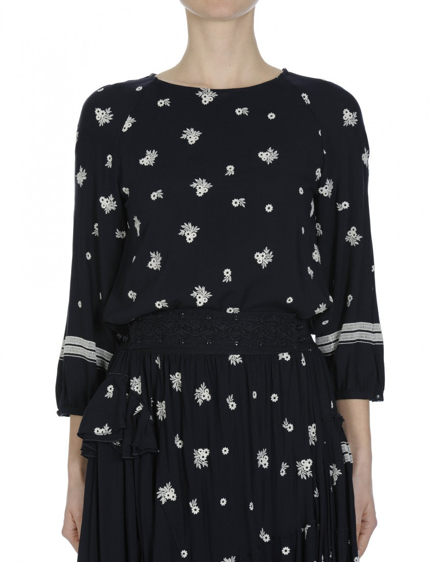 Hymn round neck top in navy with white embroidered flowers mightylinksfo