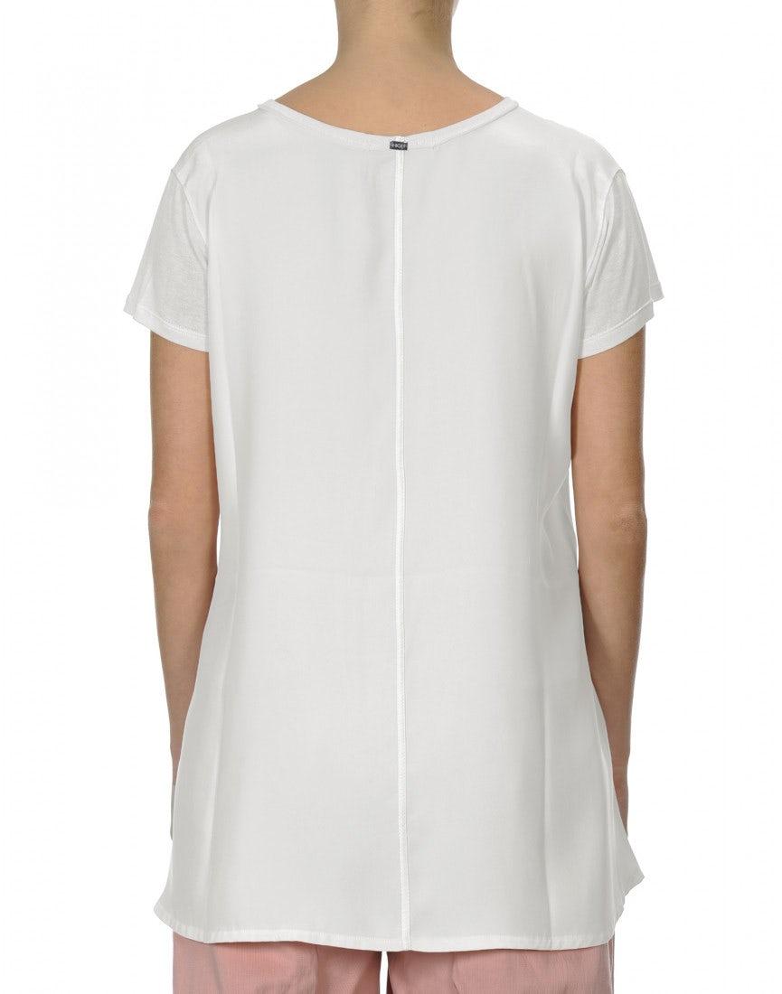 08fd0aba6972 PROPOSE: T-Shirt aus Modal und Satin aus elfenbeinfarbener Seide