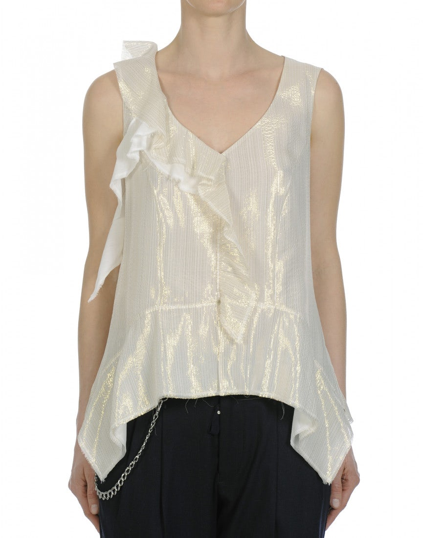 144bf5c42a0a3 GLEAM  Cream and gold metallic sleeveless top