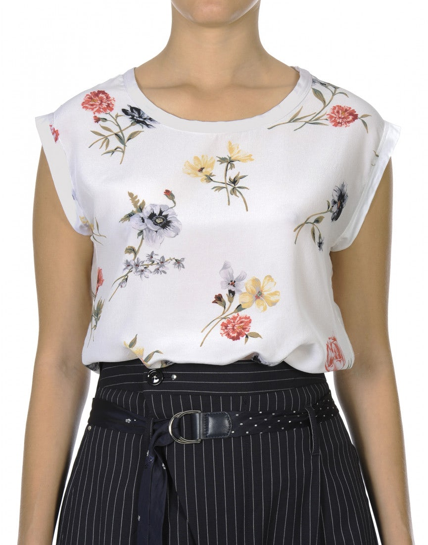 Debut Off White Sleeveless Top With Flowers