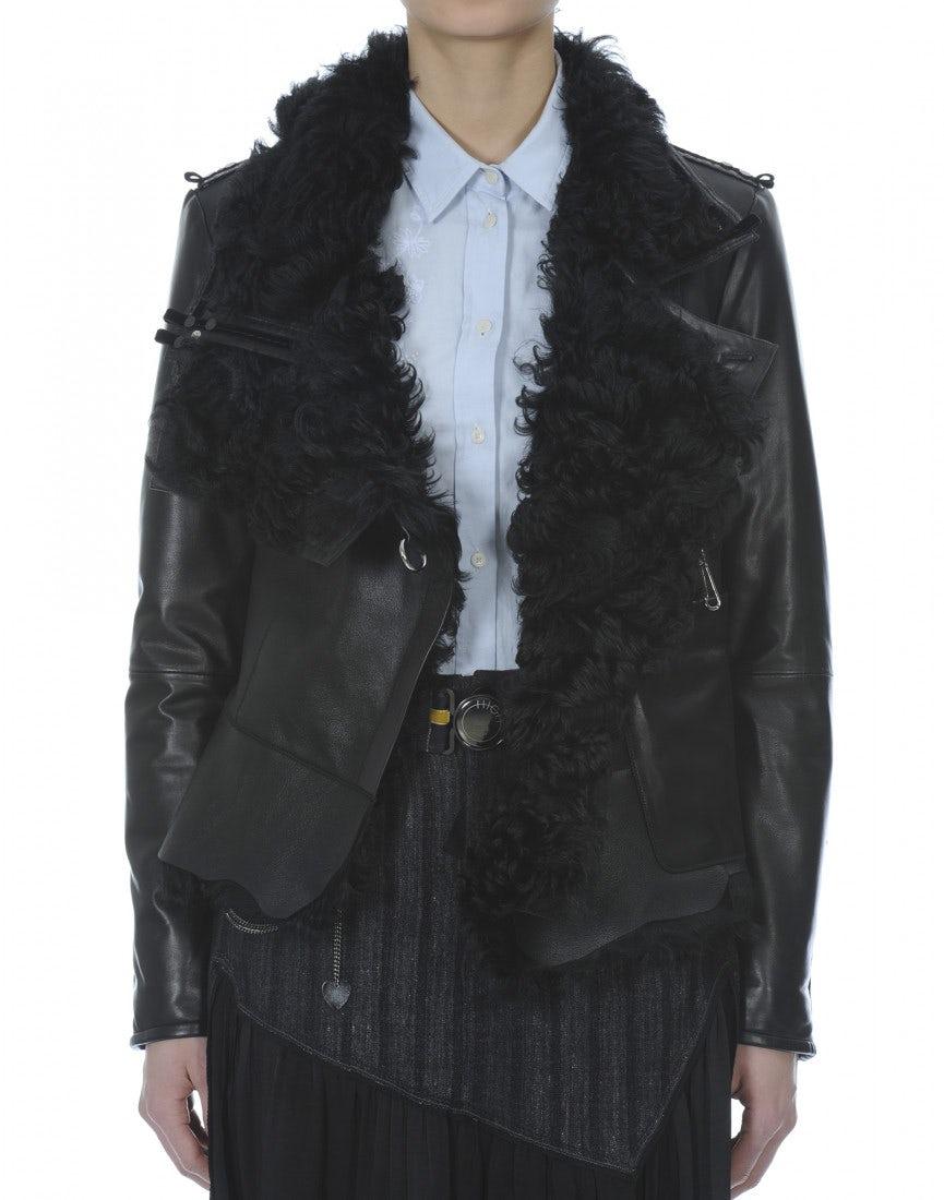 OUTRAGE: Black sheepskin jacket - HIGH
