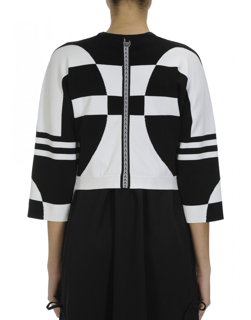Rally Black And White Cropped Zip Up Cardigan