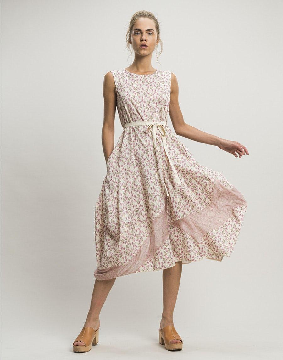 HAPPINESS: Rosa Kleid mit doppeltem Blumenmotiv