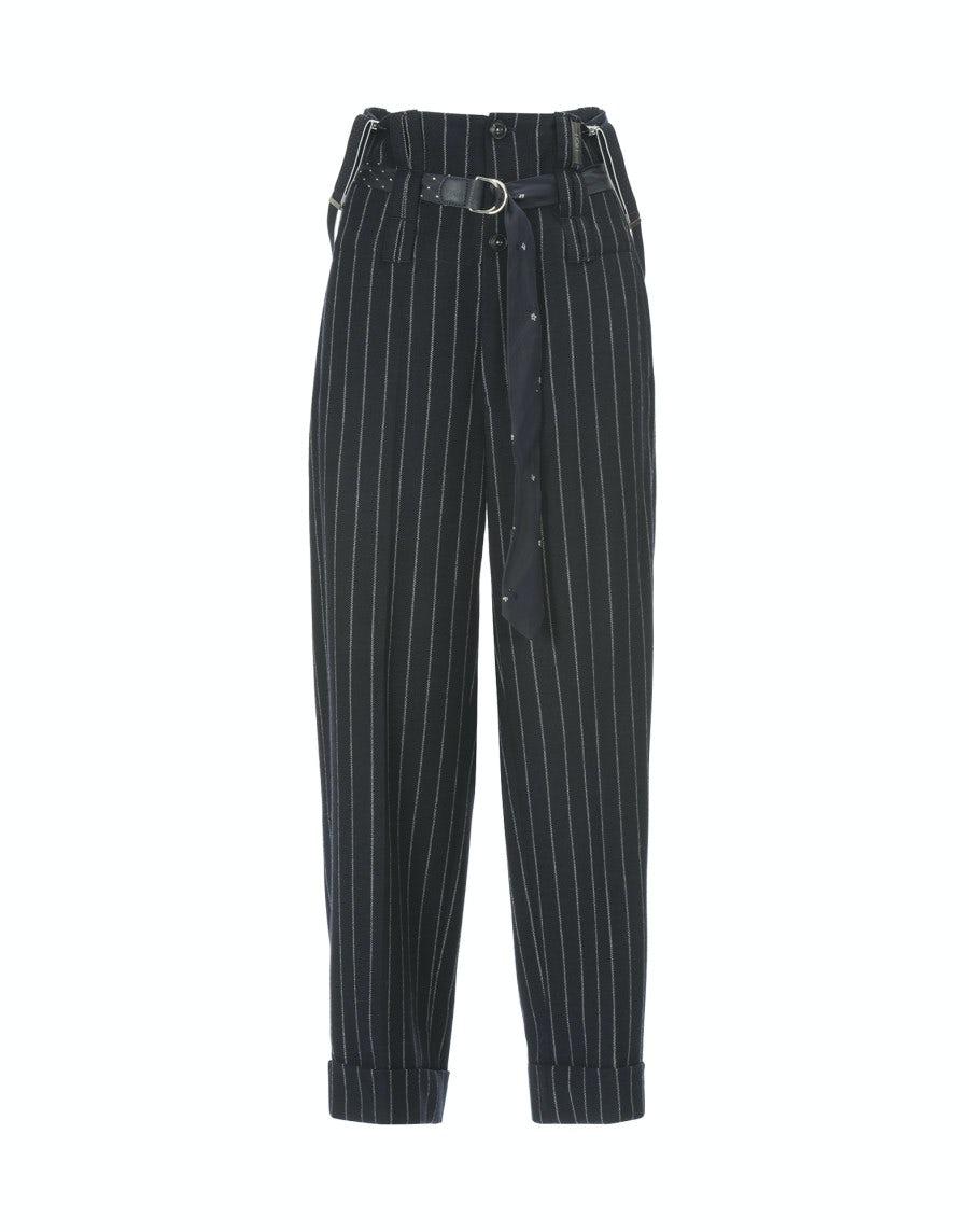f5020f6a5a KELLY: Pantaloni blu a vita alta in lana con bretelle