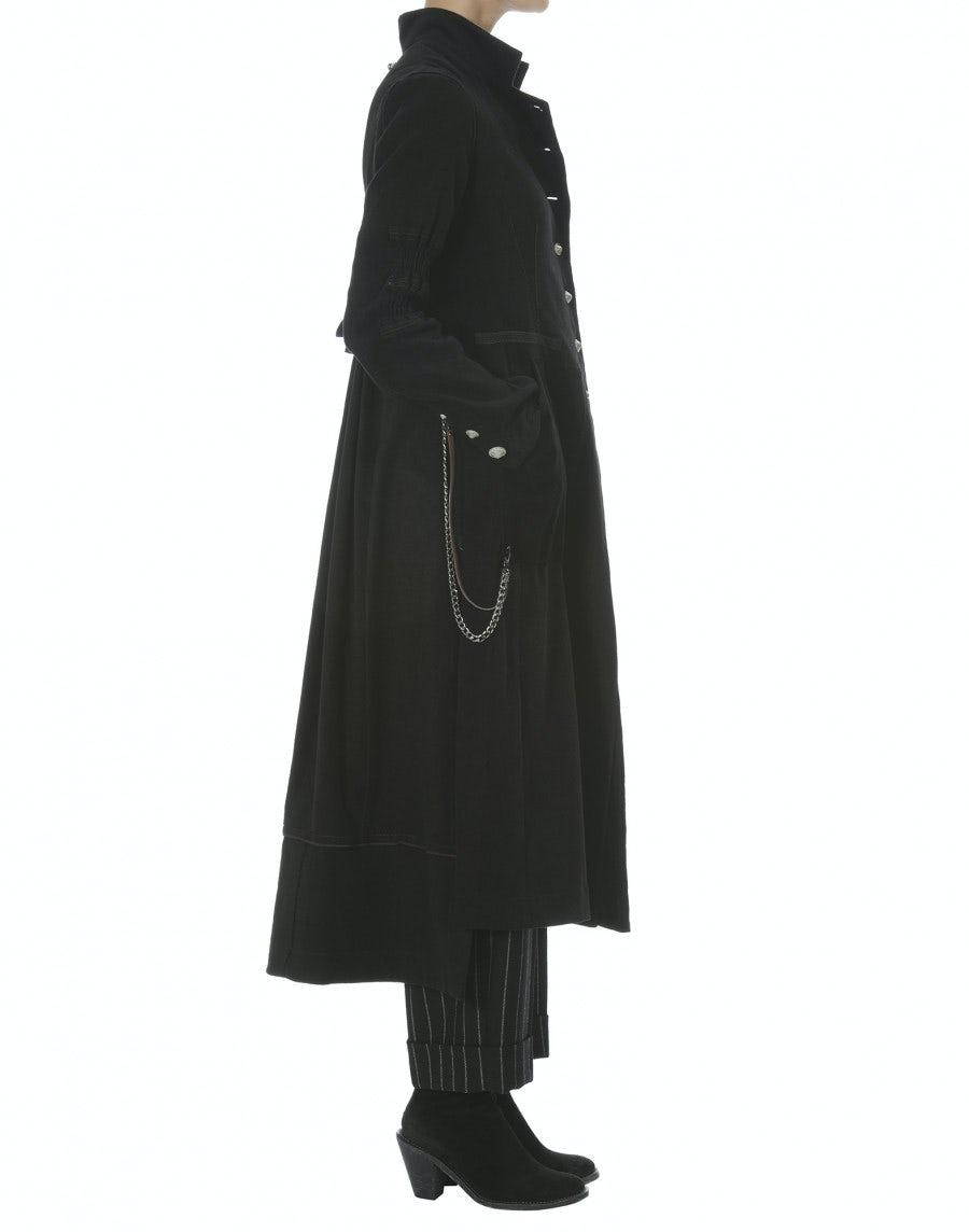 cappotto lungo con spacchi e inserto pelle nero posteriore