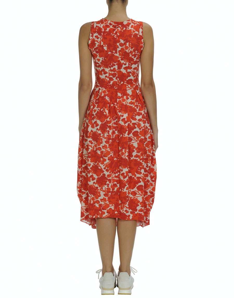 e2fe913860ba72 AT LENGHT: Robe « balloon » en tissu Sensitive® à motif floral blanche et  rouge