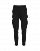 REACTIVE: Black tapered pant in twill with rib