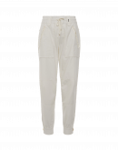 """TRACKING: High-waisted, multipanel """"joggers"""" in cream"""