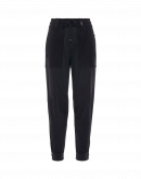 "TRACKING: High-waisted, multipanel ""joggers"" in black"