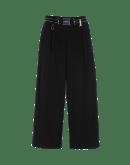 JUSTIFY: Pantaloni ampi neri con zip laterale