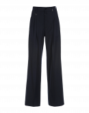 VALIDATE: Navy wide leg pants with pleats