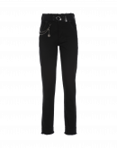VERVE: Black jeans with raw edge waist and hem