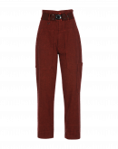 CLAMBER: High waisted pant in burgundy mini-hounds tooth