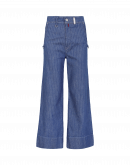 GOODBYE: Flat front flared pinstripe jeans