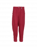 JOYRIDE: Flat front tapered pants in pale red cotton and linen