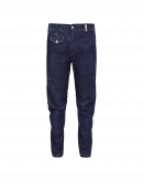 IN-MOTION: Tapered jeans with asymmetric waistband