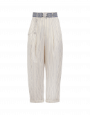 REALIST: Cream and pale blue pleated pants