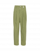 REALIST: Tapered leg pant in green mini-check