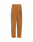 REALIST: Tapered leg pant in tobacco mini-check