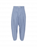 RAPPORT: Full, tapered leg pants in blue gingham