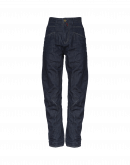 RESOUND: Denim pants with criss-cross front leg seam