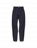 BRIGANT: Multi-panel pants in navy denim and twill