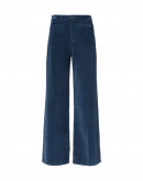FOLLOW ON: Hi-waisted wide leg pant in mid blue velvet