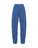 RENEWED: Sky blue cotton and linen pants with diagonal leg seams