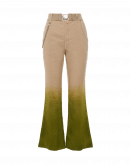 SCAMPER: Flared pants with green dyed hem