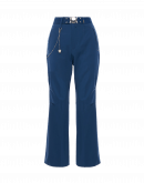 LEADER: Flared pants in navy blue wool stretch