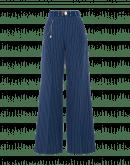 SCRUTINY: Wide leg pant in mid blue seersucker pinstripe